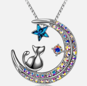 Cat on Moon Necklace Pendant with Crystals