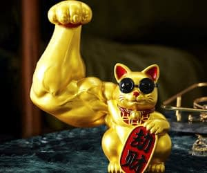 Lucky Cat Has Strong Muscular Arms